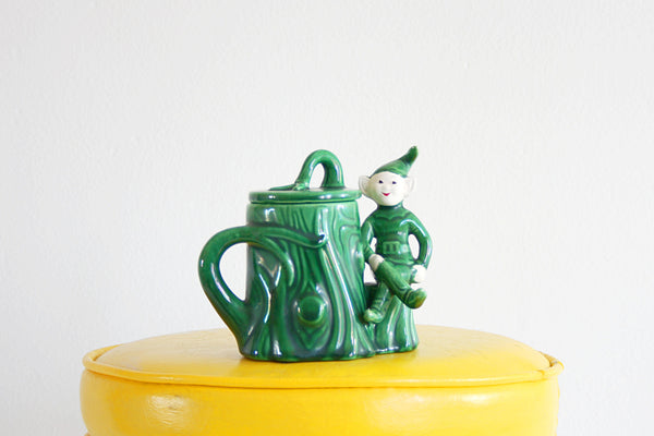 SOLD - Vintage Treasure Craft Elf Sugar Bowl / Vintage Pixie Jar