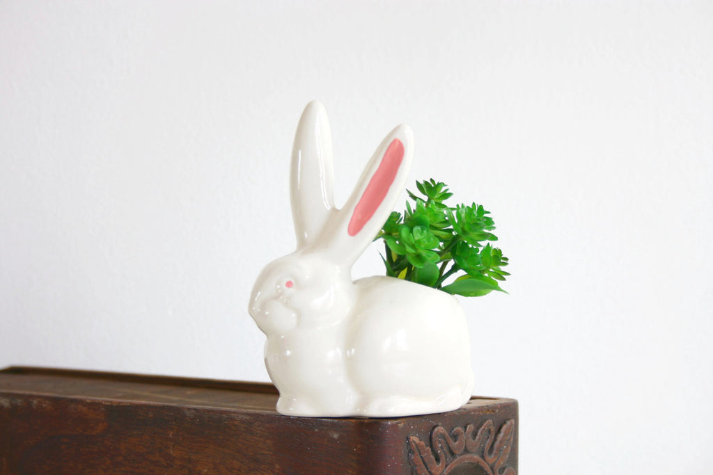 SOLD - Vintage Ceramic Bunny Rabbit Planter