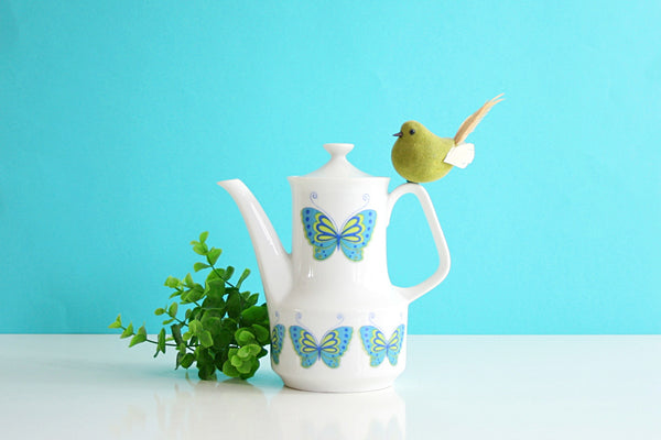 SOLD - Mid Century Mod Ceramic Butterfly Teapot / Vintage Butterfly Coffee Pot