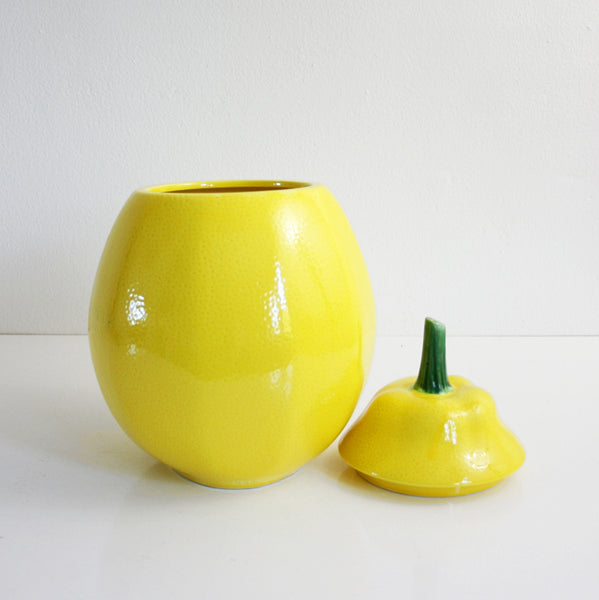 SOLD - Vintage Ceramic Lemon Cookie Jar / Mid Century Yellow Lemon Fruit Canister