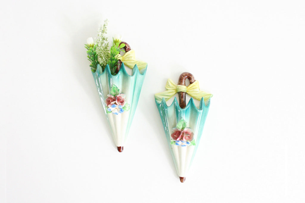 SOLD - Vintage Pastel Umbrella Wall Pockets from Italy