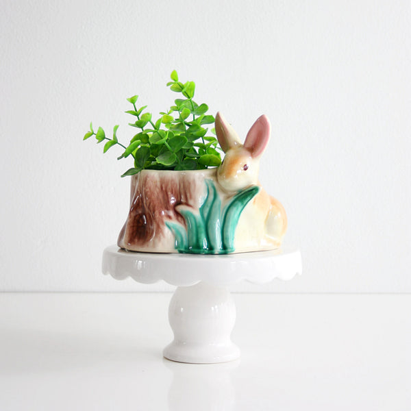 SOLD - Vintage Ceramic Rabbit Planter / Mid Century Bunny Planter