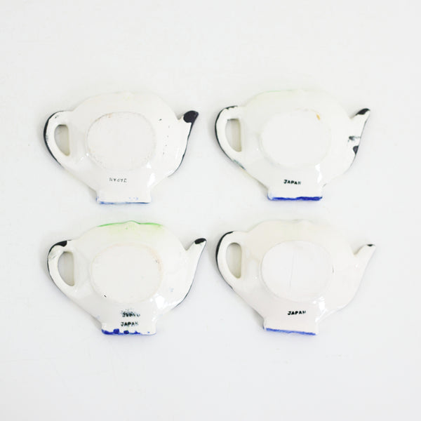 SOLD - Vintage Ceramic Tea Bag Holders with Caddy