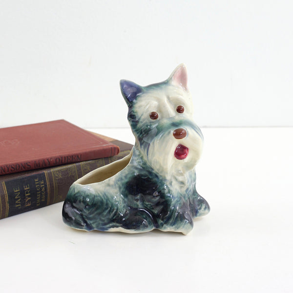 SOLD - Vintage Ceramic Dog Planter