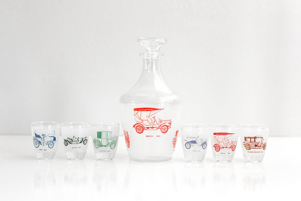 SOLD - Vintage Classic Cars Shot Glasses and Decanter Set from France / Antique Automobiles Liquor Set