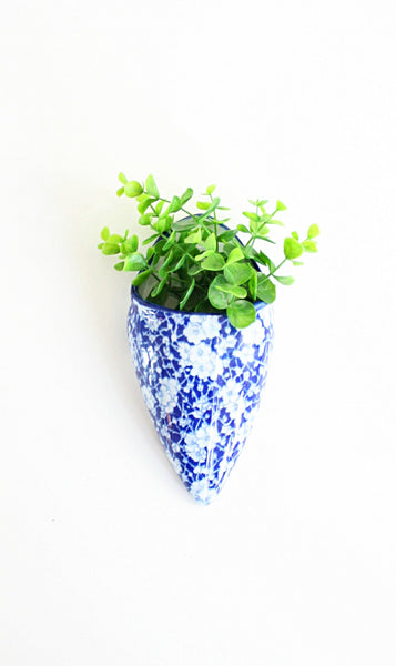 SOLD - Vintage Ceramic Cobalt Blue and White Calico Wall Pocket