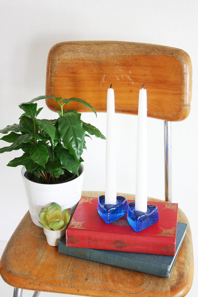 SOLD - Mid Century Modern Nuline Glass Candle Holders / Vintage Art Glass Candle Holders by Wheaton Glass