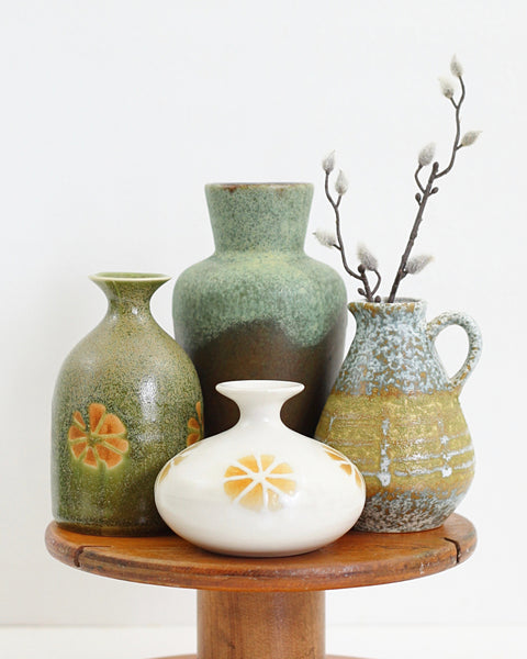 SOLD - Mid Century Mustard & Olive Stoneware Vase by OMC Japan