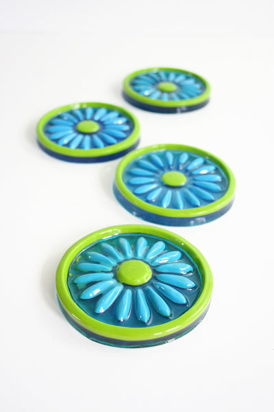 SOLD - Vintage Colorflo Daisy Lucite Coasters / Mid Century Resin Flower Coasters