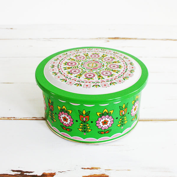 SOLD - Vintage Colorful 1960s Floral Tin from Brazil