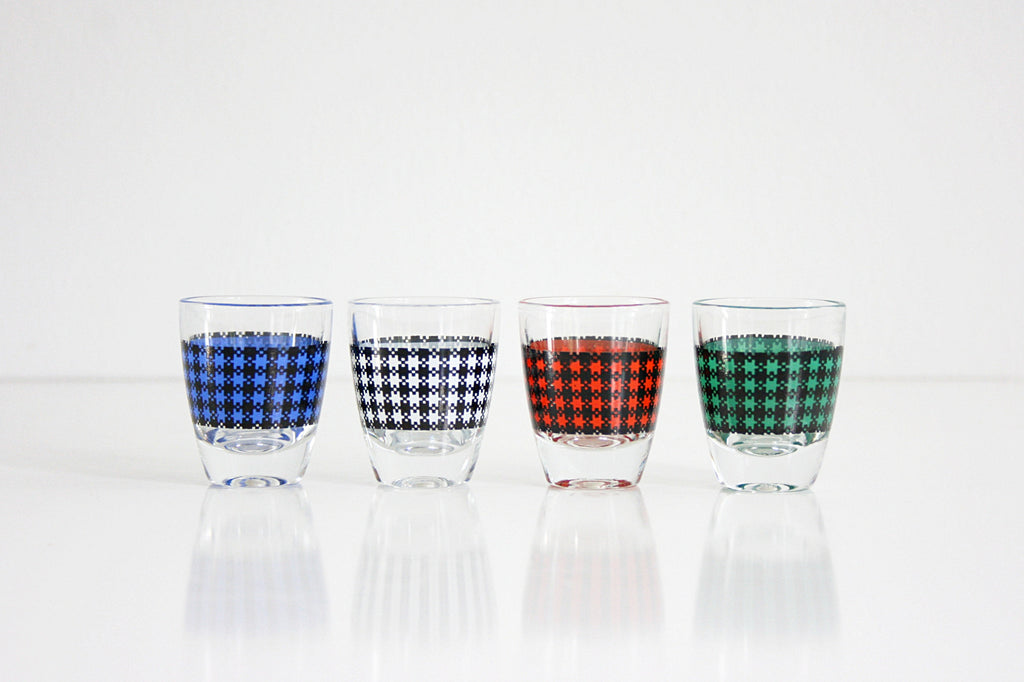 SOLD - Mid Century Modern Houndstooth Shot Glasses / Colorful Vintage Barware
