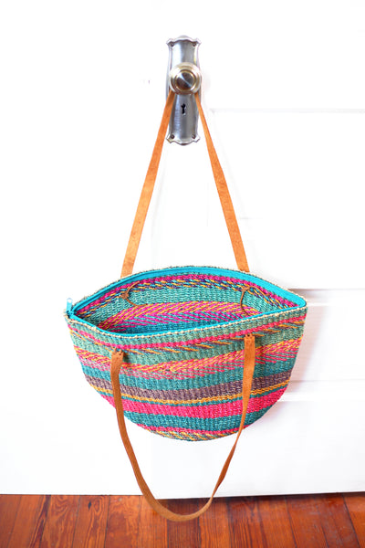 SOLD - Vintage Colorful Sisal Market Bag