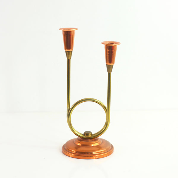 SOLD - Copper and Brass Candlestick Holder by Coppercraft Guild