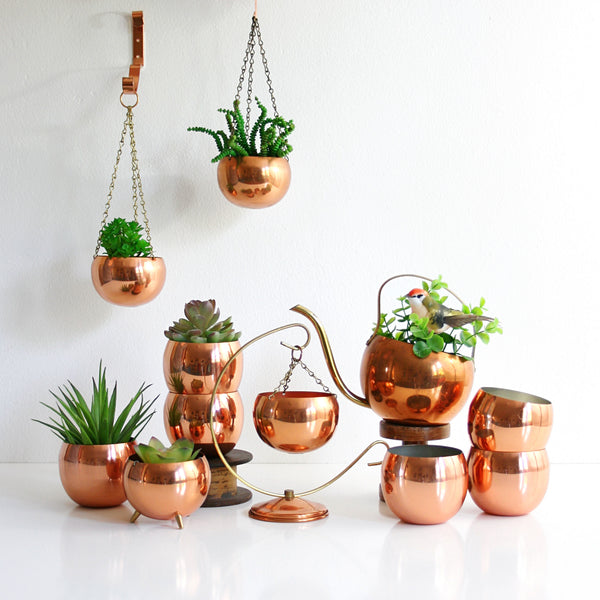 SOLD - Vintage Copper Hanging Planter with Wall Bracket / Mid Century Coppercraft Guild Planter