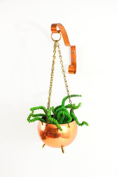 SOLD - Vintage Hanging Footed Copper Planter by Coppercraft Guild