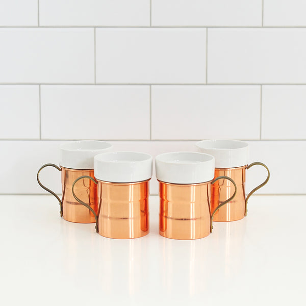 Vintage Copper Mugs with Removable Ceramic Inserts