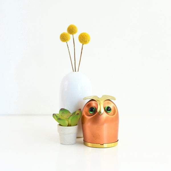 Mid Century Copper and Brass Owl Bank by Coppercraft Guild