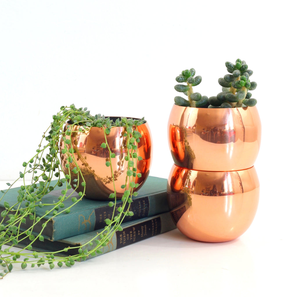 SOLD - Mid Century Copper Roly Poly Tumblers
