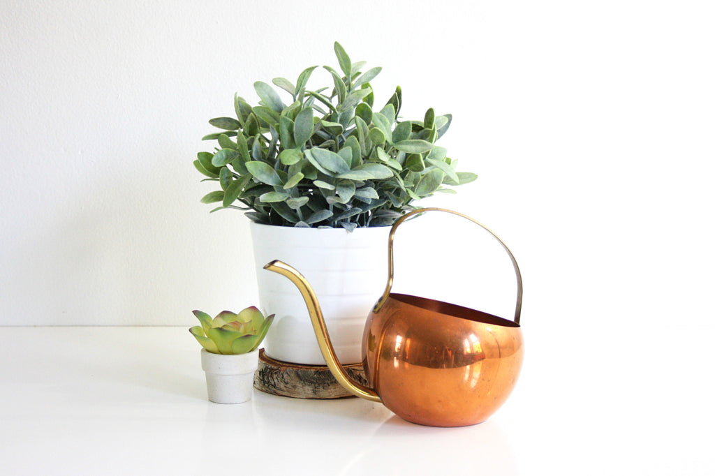 SOLD - Vintage Copper Watering Can by Coppercraft Guild / Mid Century Copper and Brass Watering Can