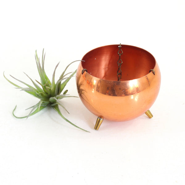 Vintage Footed Hanging Copper Planter by Coppercraft Guild