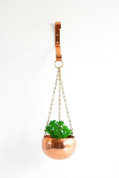 SOLD - Small Hanging Copper Planter by Coppercraft Guild