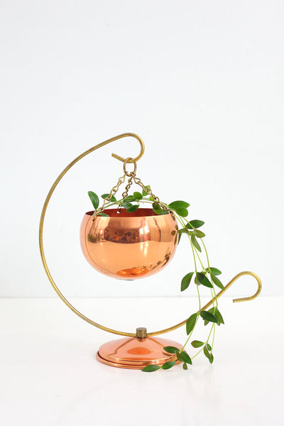 SOLD - Vintage Coppercraft Guild Hanging Planter with Stand