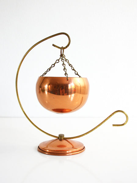 SOLD - Vintage Coppercraft Guild Planter with Stand / Mid Century Copper Hanging Plant Pot