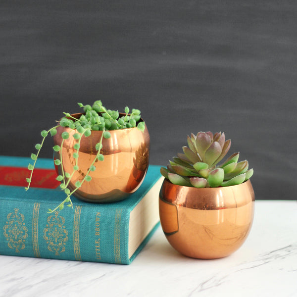 SOLD - Mid Century Copper Planters by Coppercraft Guild