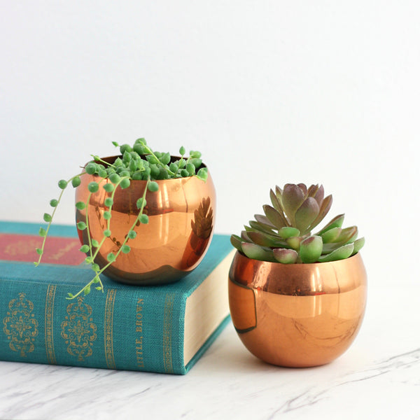 SOLD - Mid Century Modern Copper Planters by Coppercraft Guild