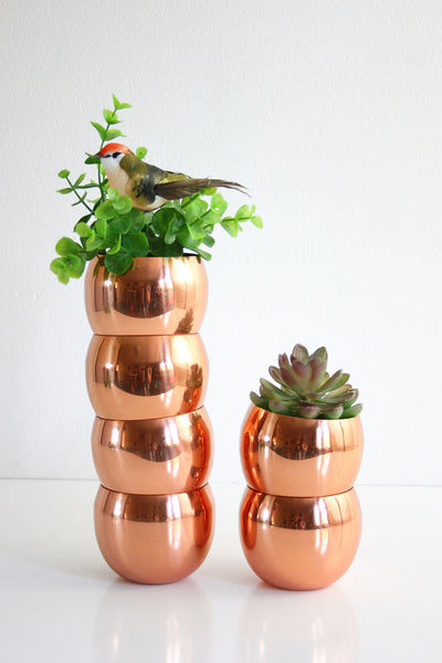 SOLD - Mid Century Modern Copper Roly Poly Tumblers / Vintage Coppercraft Guild Copper Cups