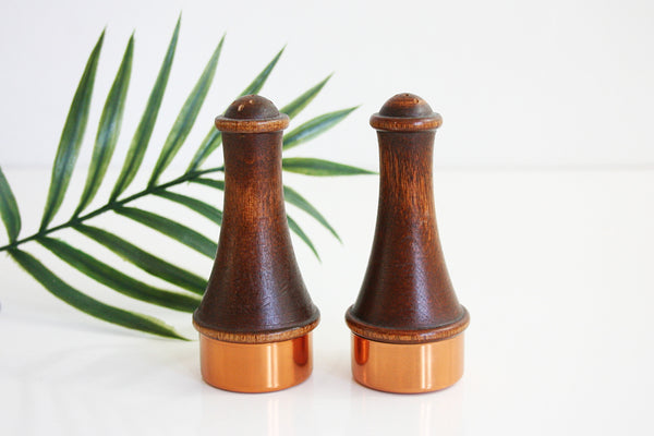 SOLD - Mid Century Coppercraft Guild Wood & Copper Salt & Pepper Shakers