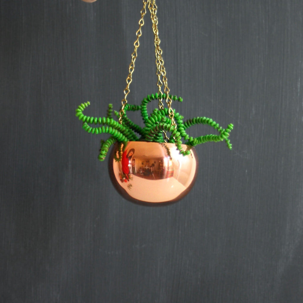 SOLD - Vintage Hanging Copper Planter by Coppercraft Guild