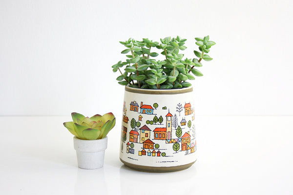 SOLD - Vintage Country Village Stoneware Planter / Vintage Houses Ceramic Jar From Japan