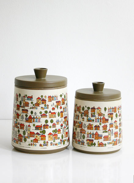 SOLD - Vintage Country Village Stoneware Canister Set / Vintage Houses Ceramic Canisters From Japan