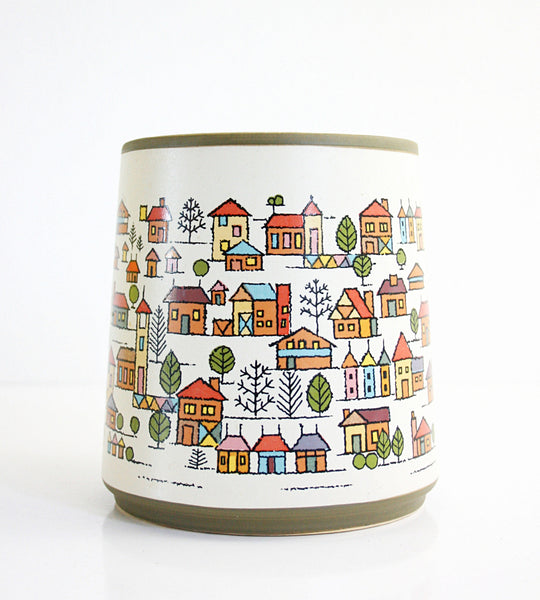 SOLD - Vintage Country Village Stoneware Utensil Jar / Vintage Houses Ceramic Canister From Japan
