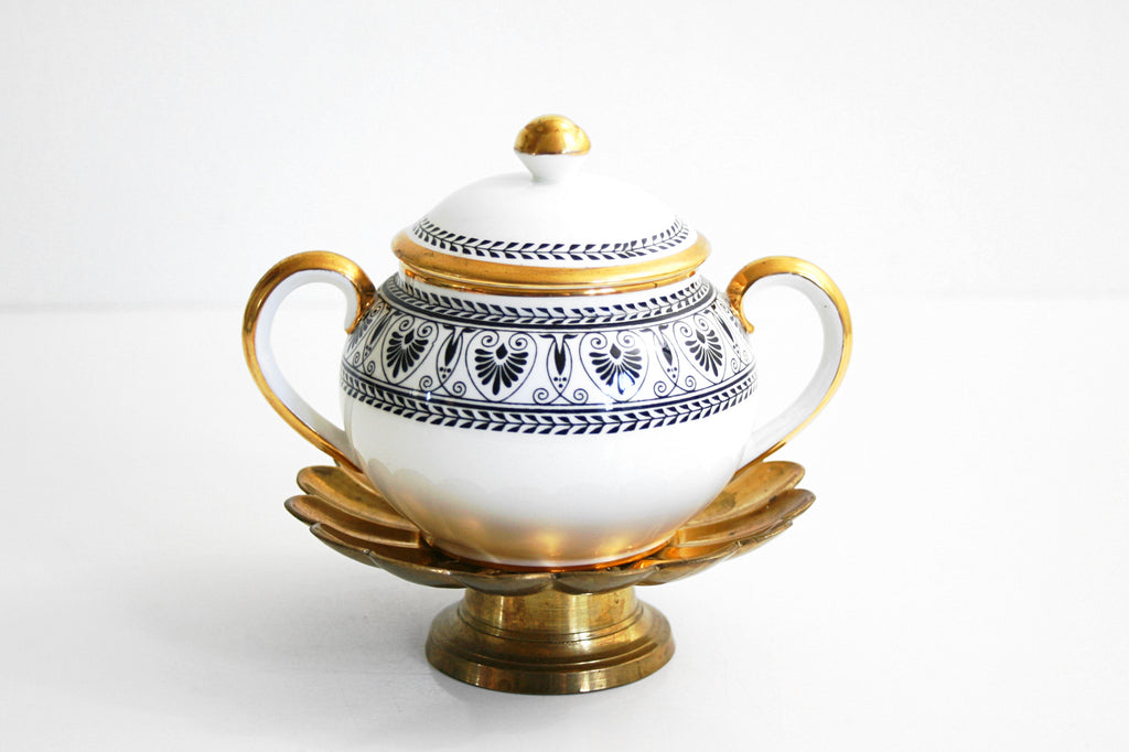 SOLD - Vintage Crown Staffordshire Black Victoria Sugar Bowl from England