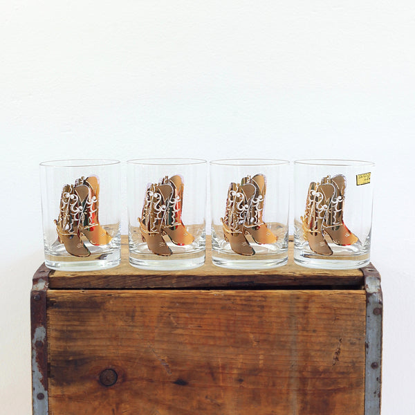 SOLD - Mid Century Culver Cowboy Boots Low Ball Glasses