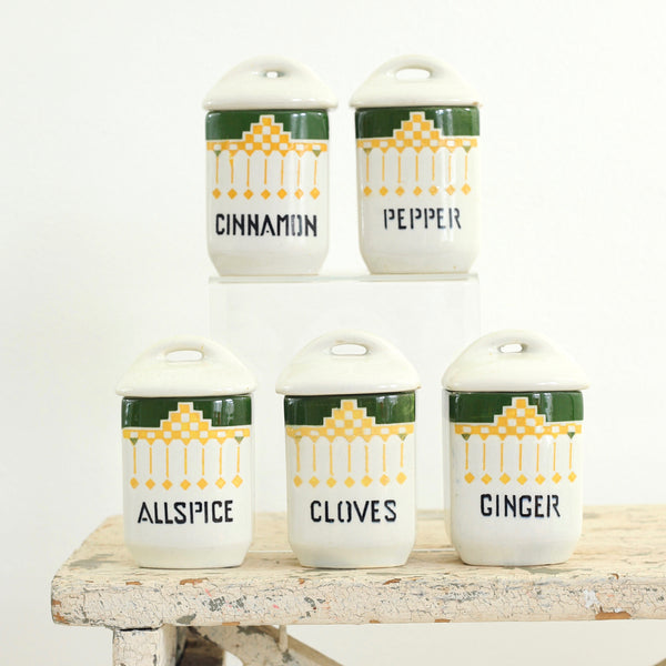 Vintage Geometric Spice Jars from Czechoslovakia