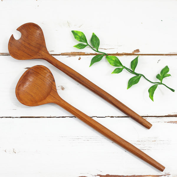Vintage Danish Modern Carved Wood Salad Servers