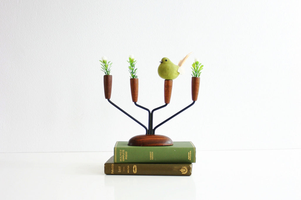 SOLD - Danish Modern Teak Wood and Metal Lüthje Candle Holder from Denmark