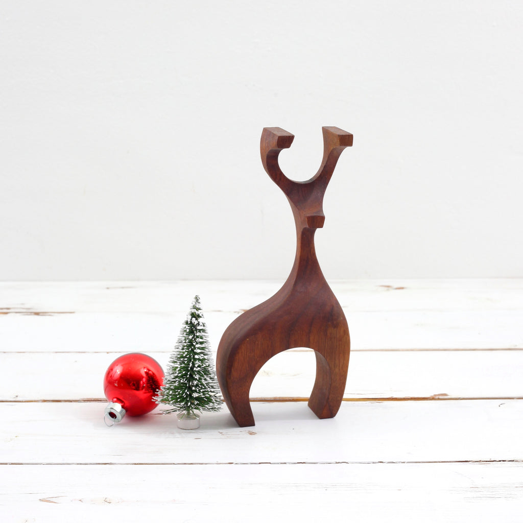 SOLD - Danish Modern Carved Wood Reindeer