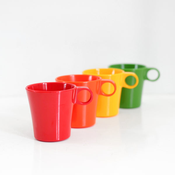 RESERVED - Mid Century Deka Rainbow Stacking Mugs