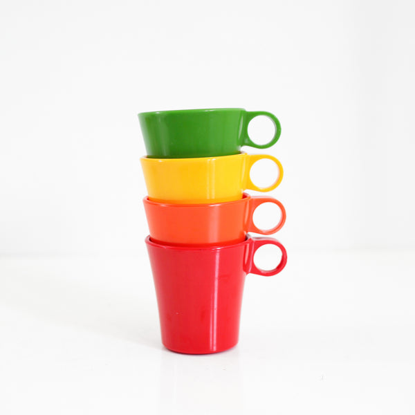 SOLD - Mid Century Deka Rainbow Stacking Mugs