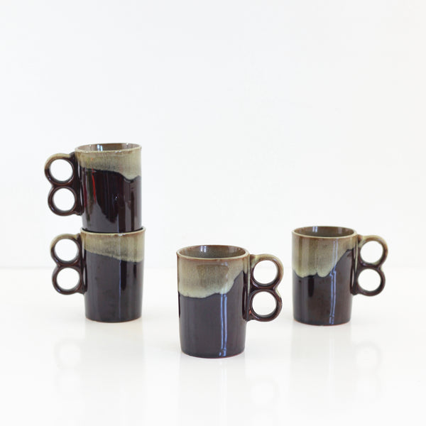 Vintage Drip Glaze Trigger Handle Mugs
