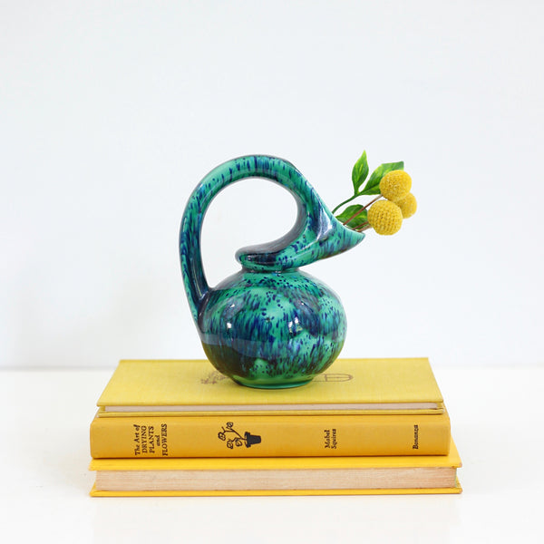 SOLD - Vintage Emerald & Cobalt Drip Glaze Pitcher