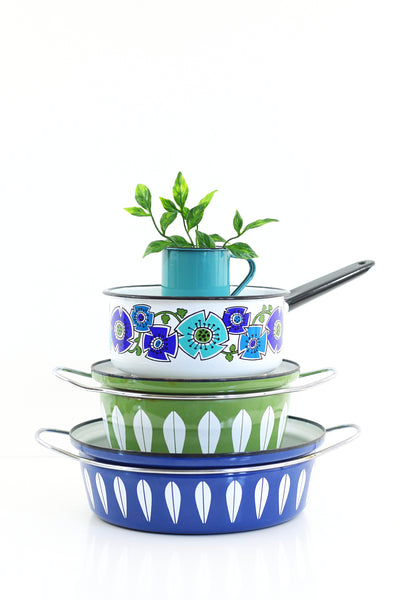SOLD - Vintage Enamel Sauce Pan with Turquoise & Cobalt Flowers