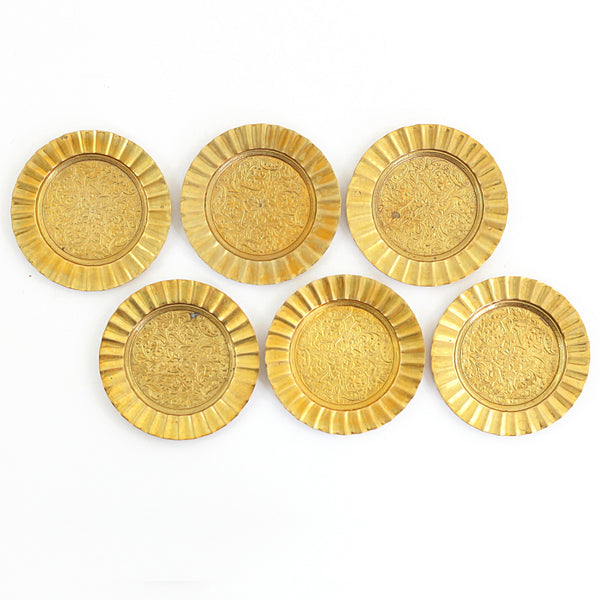 SOLD - Vintage Floral Brass Coaster Set