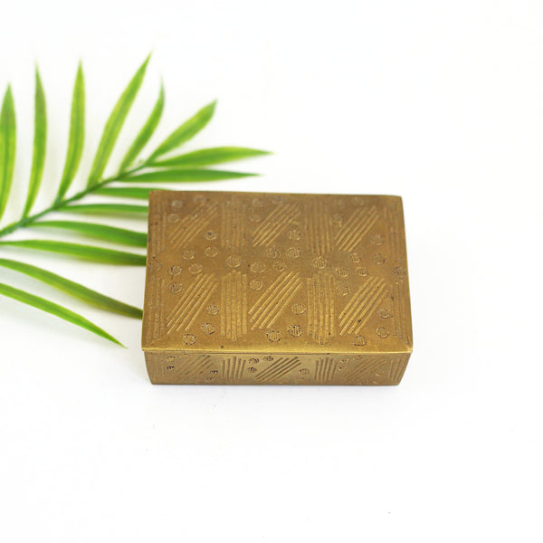 SOLD - Vintage Etched Brass Trinket Box