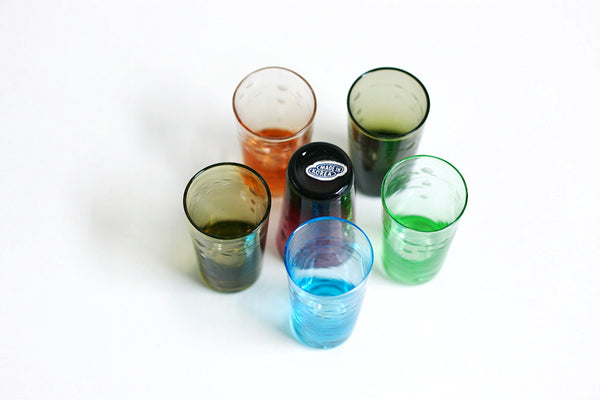 SOLD - Vintage Jewel Tone Blown Glass Shot Glasses