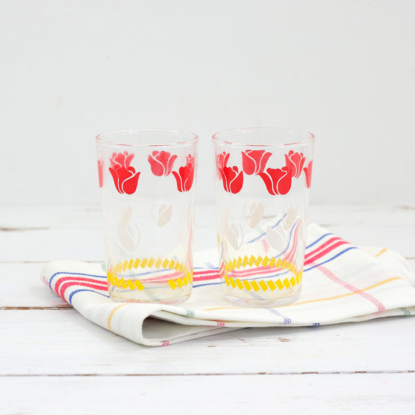 Vintage 1950s Federal Glass Tulip Juice Glasses